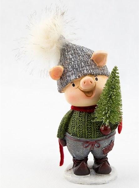 "Статуэтка ""Свинка с елкой в зеленом свитере"" - фото 19090"