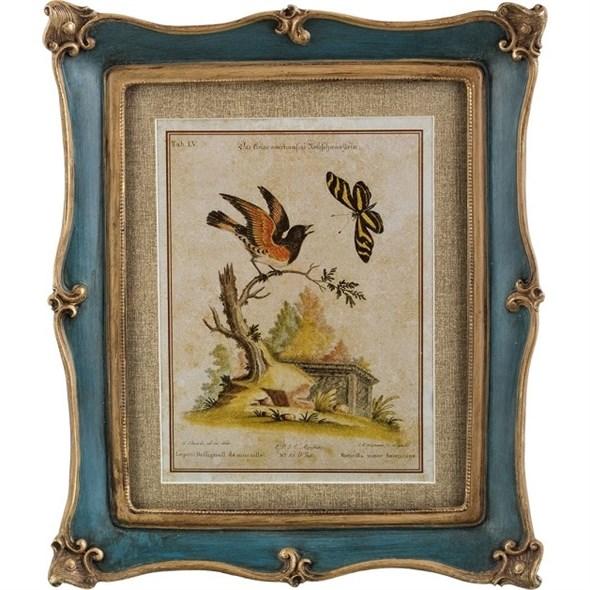"""Панно в раме """"Птица на ветке"""" 33х28 см - фото 19351"""