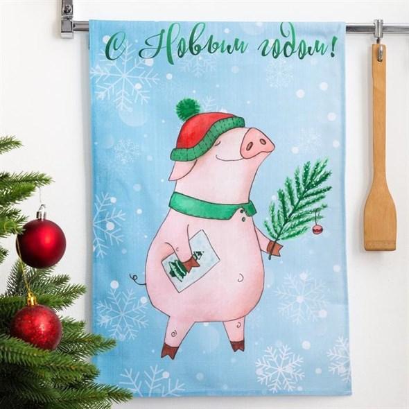 """Полотенце кухонное """"С Новым годом. Свинка в шапке"""" 34х58 см - фото 19492"""