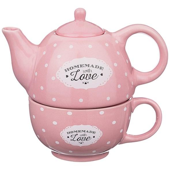 """Набор из чайника 330 мл и кружки 280 мл """"Горох"""" розовый - фото 20430"""