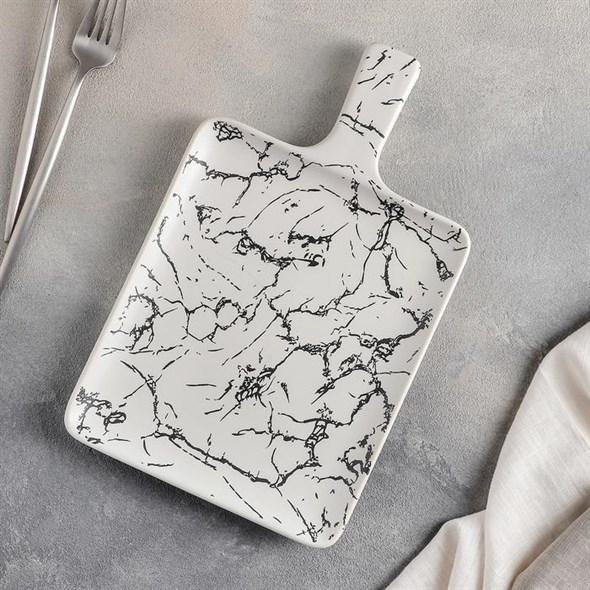 Блюдо керамическое сервировочное 29х18 см белое - фото 20537