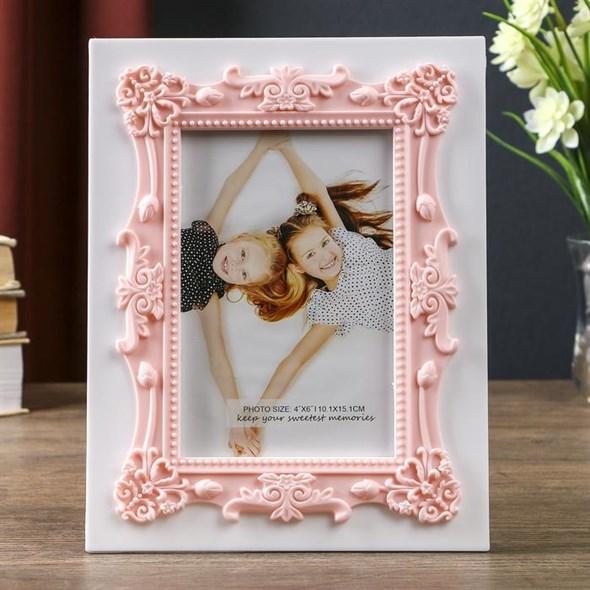"""Фоторамка """"Розовый рисунок"""" для фотографии 10х15 см - фото 21168"""