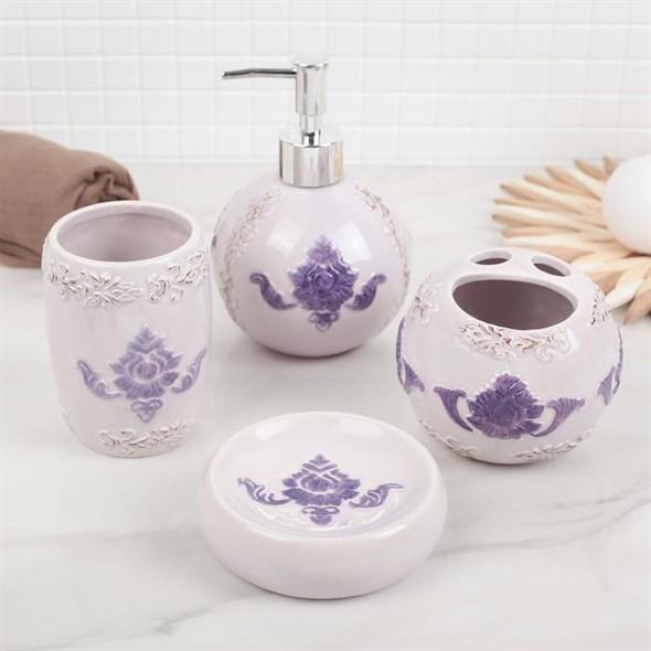 """Набор для ванной комнаты """"Фиолетовый рисунок"""" - фото 21172"""