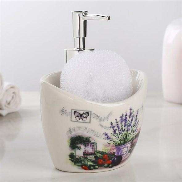 """Дозатор для мыла """"Лаванда"""" с губкой - фото 21253"""