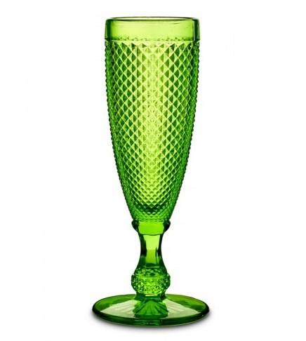 """Бокал """"Винтаж"""" для шампанского зеленый из цветного стекла (УЦЕНКА)"""