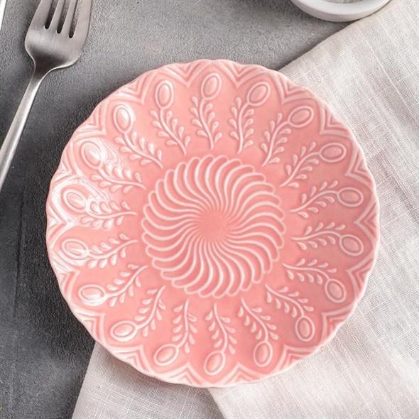 Тарелка керамическая розовая 15 см - фото 21424