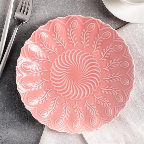 Тарелка керамическая розовая 20 см - фото 21425