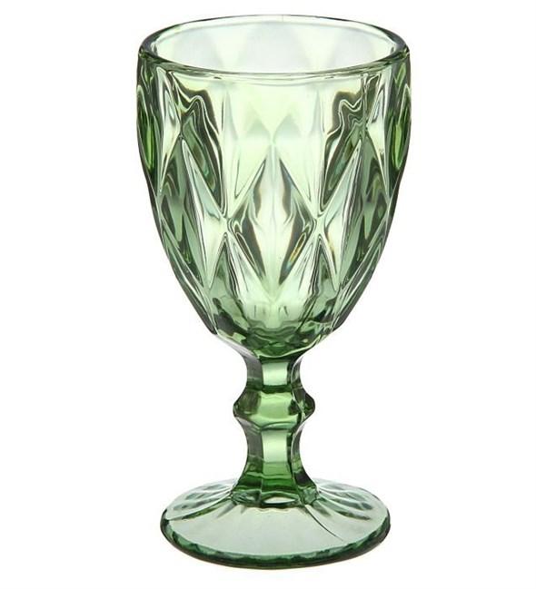 """Бокал """"Клетка"""" зеленый 220 мл из цветного стекла - фото 21633"""