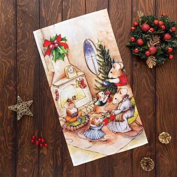 """Полотенце кухонное """"Мышиное рождество"""" 34*58 см - фото 21719"""