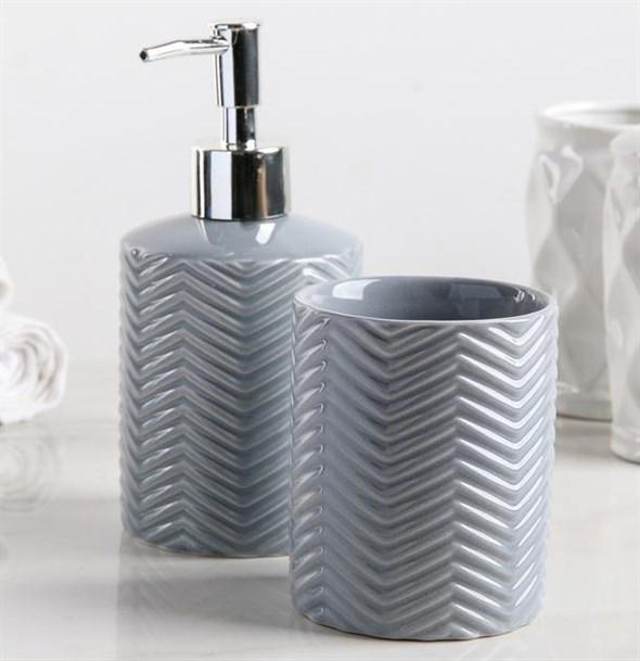 Набор для ванной комнаты серый - фото 21896