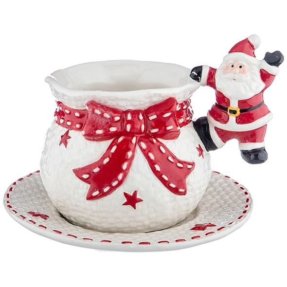 """Кружка с блюдцем """"Дед Мороз"""" 300 мл - фото 21938"""