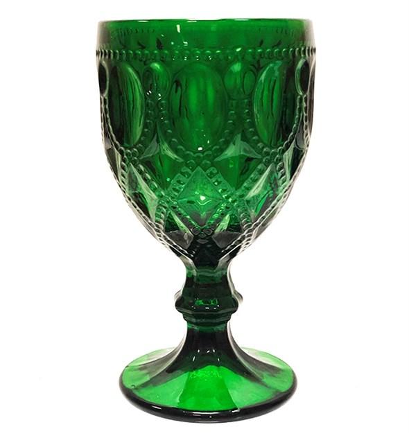 """Бокал """"Кружево"""" зеленый 270 мл из цветного стекла - фото 21982"""