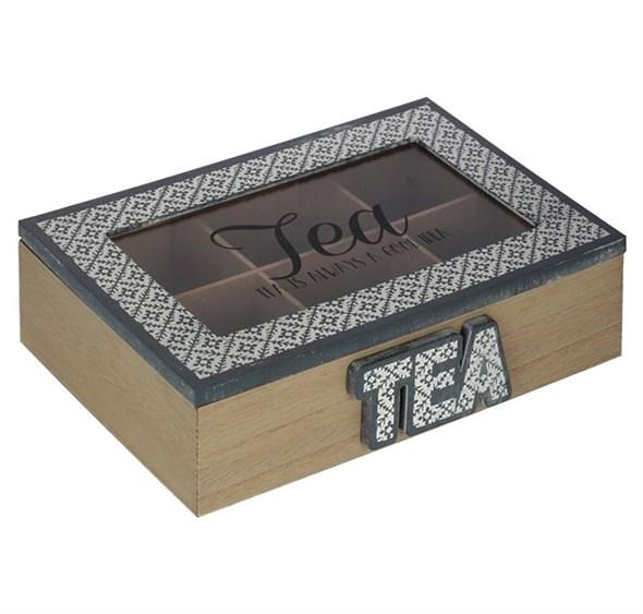 Шкатулка для чайных пакетиков на шесть отделений серая - фото 22085