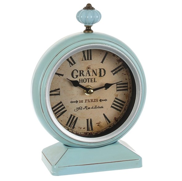 Часы настольные металлические голубые - фото 22086