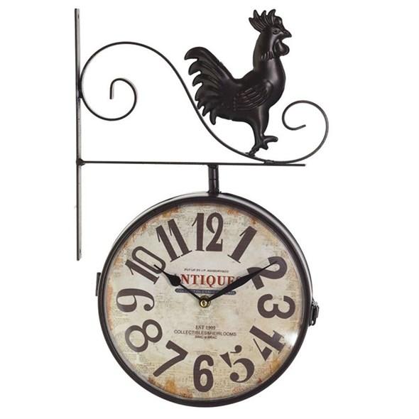 Часы настенные двухсторонние с петушком, диаметр 22 см - фото 22812