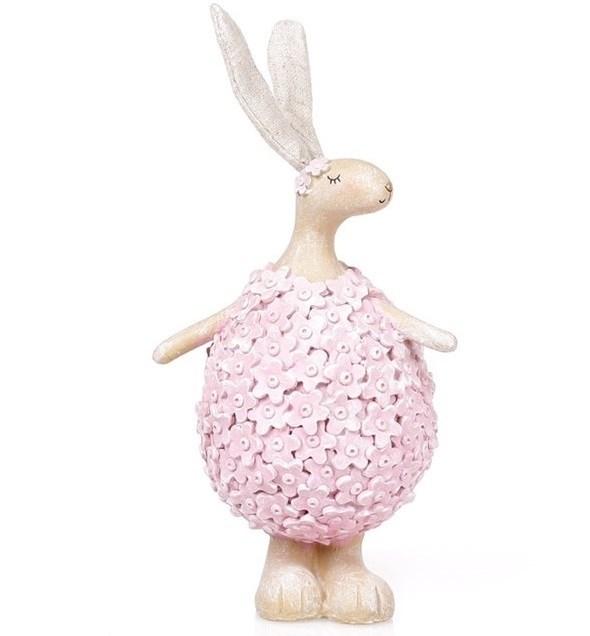 """Статуэтка """"Цветочный кролик"""" розовый - фото 22851"""