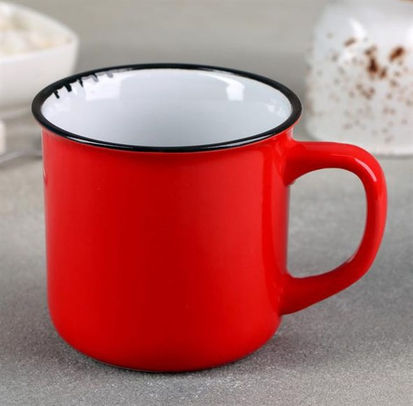 Кружка керамическая красная 330 мл - фото 22958