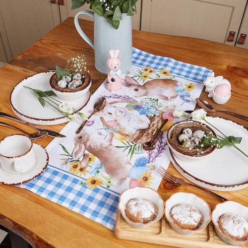 """Дорожка на стол """"Кролики"""" 30х70 см - фото 22992"""