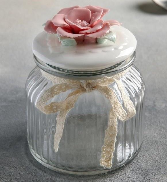 """Банка для хранения """"Розовый цветок"""" 600 мл - фото 23047"""