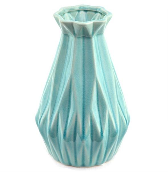 Ваза керамическая рифленая 21 см - фото 23089