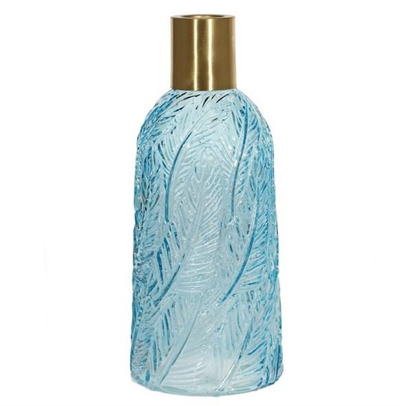 Ваза стеклянная голубая 30 см - фото 23093