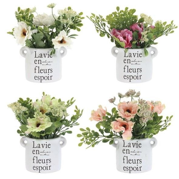 Цветок искусственный в кашпо 18 см, цена за штуку - фото 23328