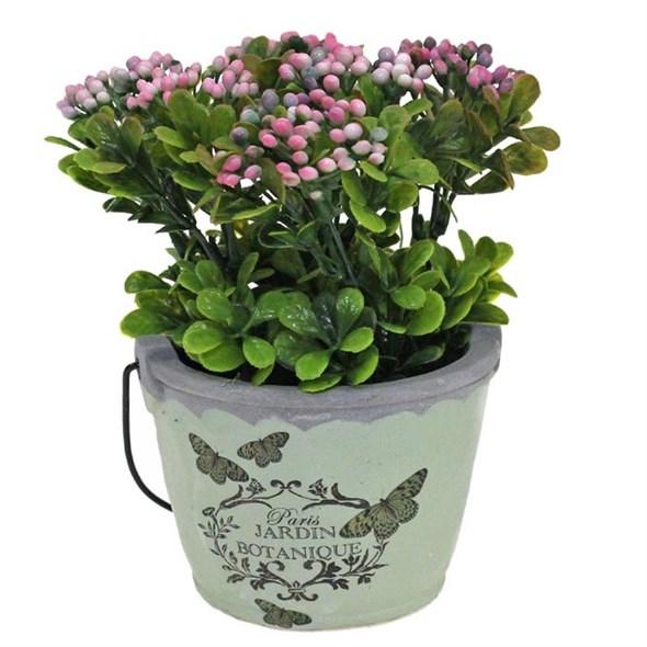 Цветок искусственный в кашпо розовый - фото 23416