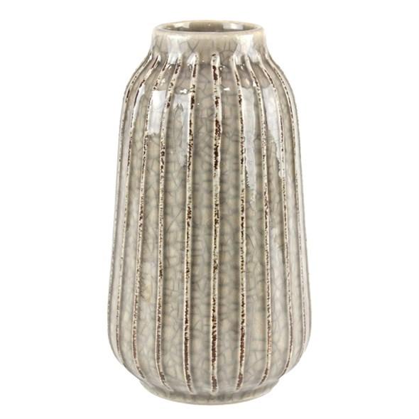 Ваза керамическая рифленая коричневая - фото 23427