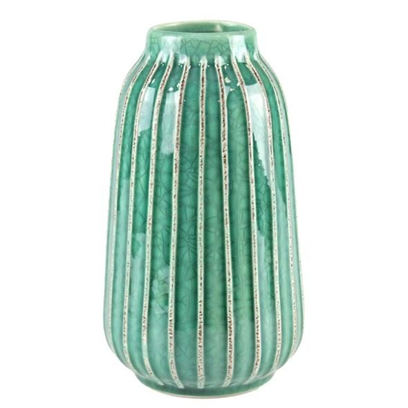 Ваза керамическая рифленая бирюзовая - фото 23428