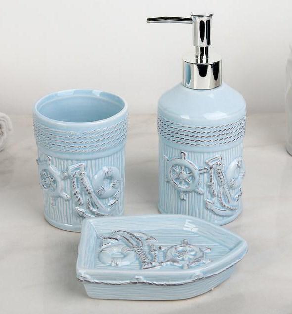 """Набор для ванной """"Морской"""" синий - фото 23463"""