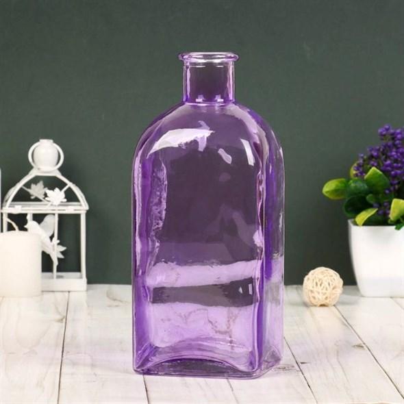 Ваза-бутылка стеклянная малиновая - фото 23590