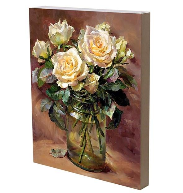 "Панно ""Белые розы"" 29х36 см - фото 23915"
