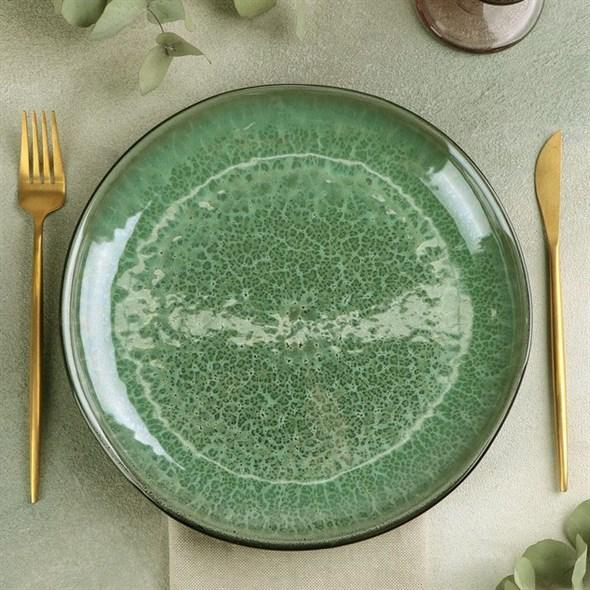 Тарелка зеленая 26 см - фото 24112