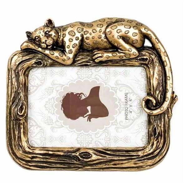 """Фоторамка """"Кошка"""" золотистая для фото 14x9 см - фото 24309"""