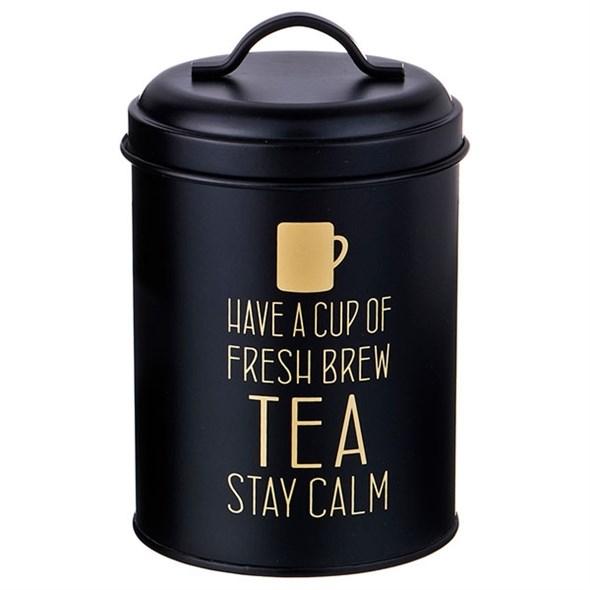 """Банка для хранения """"Чай"""" металлическая 1100 мл черная - фото 24352"""