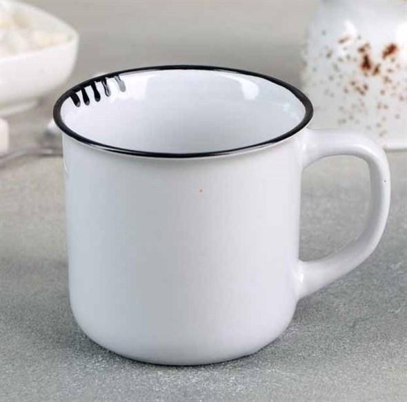 Кружка керамическая белая 300 мл - фото 24381