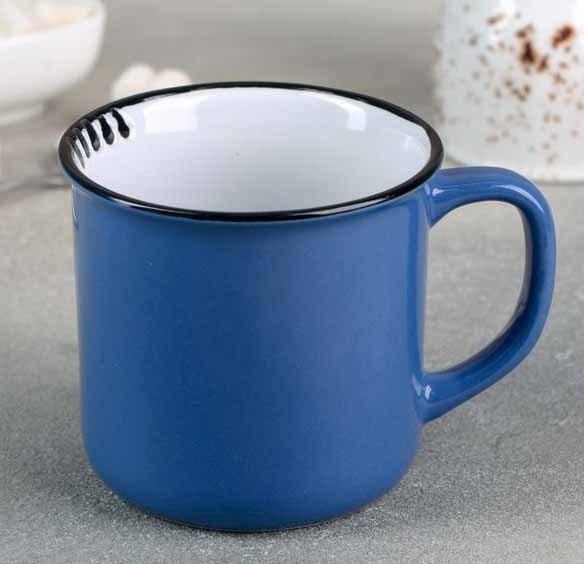 Кружка керамическая синяя 300 мл - фото 24382