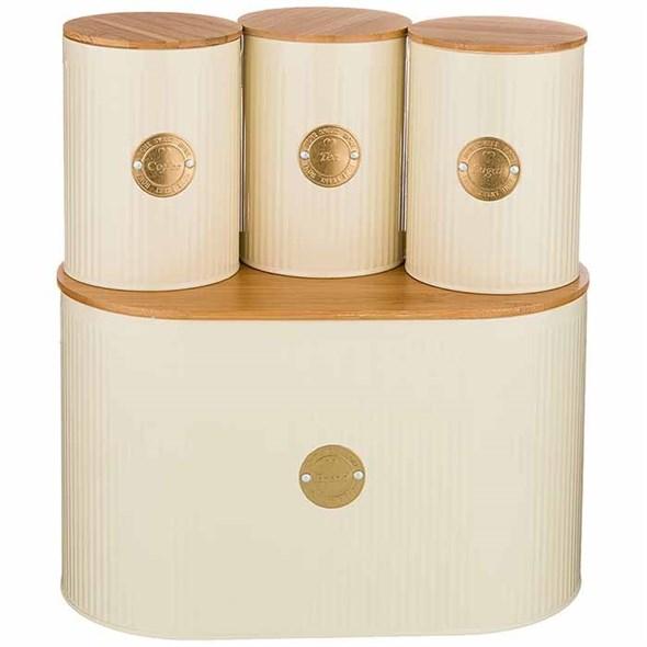 Набор (молочный) из хлебницы и трех банок для сыпучих по 1000 мл - фото 24390