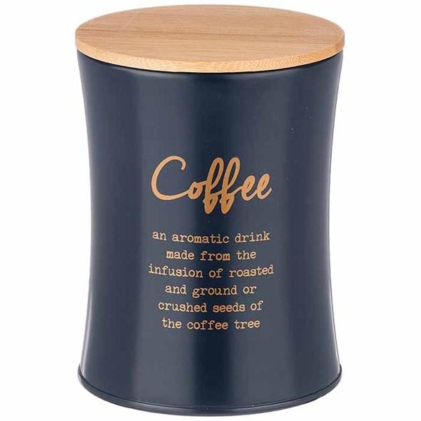 "Банка для хранения ""Кофе"" 1100 мл металлическая темно-синяя - фото 24394"