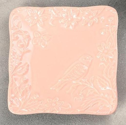 """Блюдо """"Птица"""" 16х16 см розовое - фото 24518"""