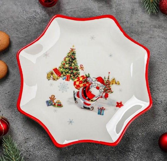 """Блюдо новогоднее """"Дед Мороз с подарками"""" 20 см - фото 24580"""