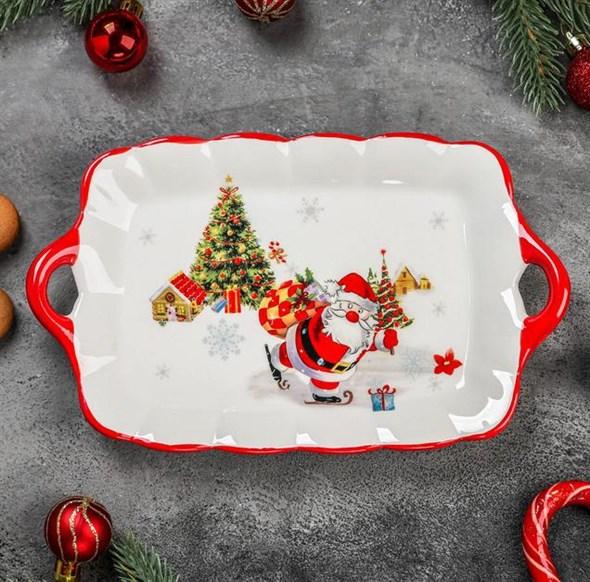 """Блюдо сервировочное с ручками """"Дед Мороз с подарками"""" - фото 24582"""