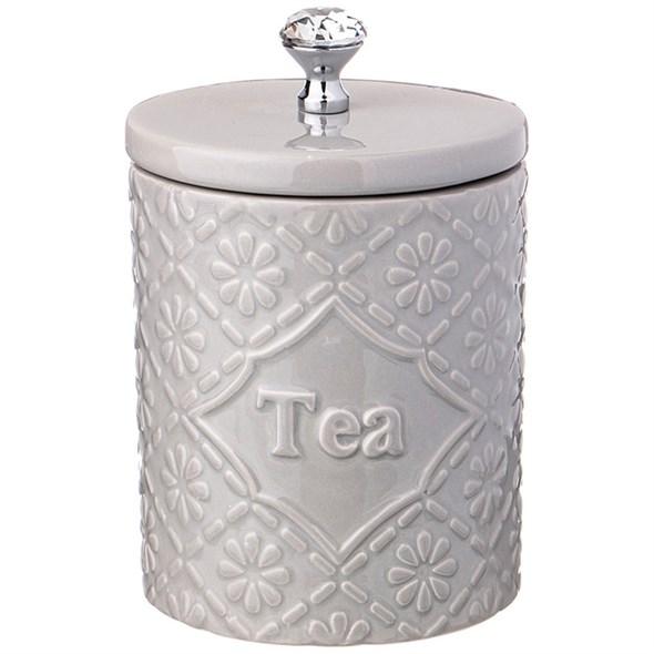 """Банка керамическая для хранения """"Чай"""" 800 мл серая - фото 24607"""