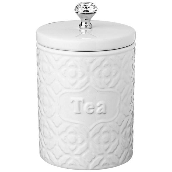 """Банка керамическая для хранения """"Чай"""" 1350 мл белая - фото 24609"""