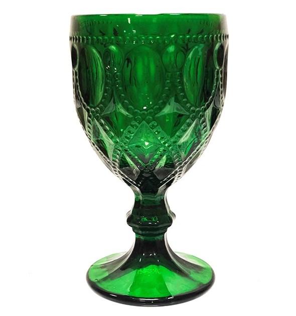 """Бокал """"Кружево"""" зеленый 270 мл из цветного стекла - фото 24660"""