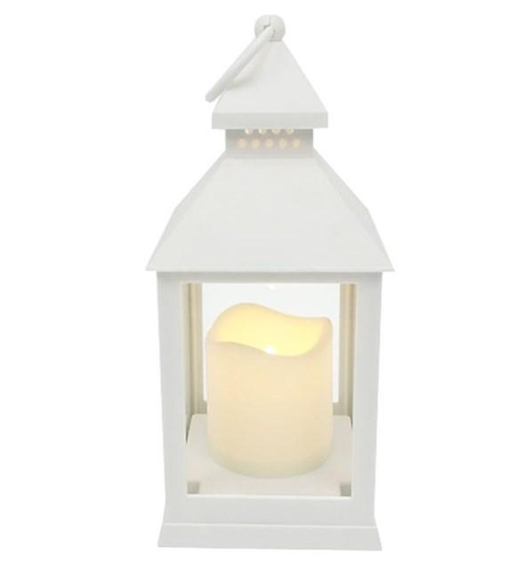 Фонарь светодиодный со свечой белый - фото 24865