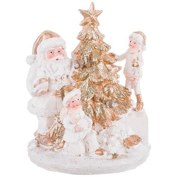 """Статуэтка """"Дед Мороз с детьми у елки"""" с подсветкой - фото 24929"""