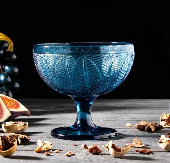 """Креманка """"Листья"""" 350 мл синяя из цветного стекла - фото 24964"""