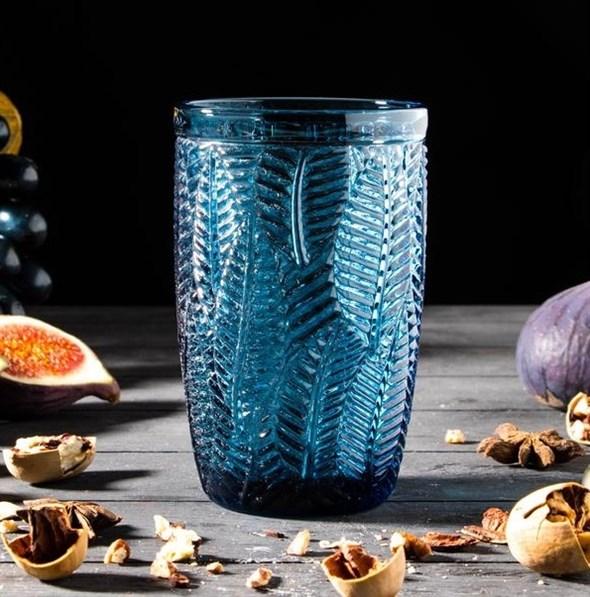 """Стакан """"Листья"""" 400 мл синий из цветного стекла - фото 24966"""