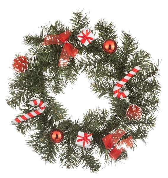 Венок новогодний с красными подарками, диаметр 25 см - фото 25226
